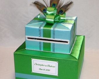 Green/Blue Peacock theme Card Box-any color can be made