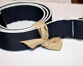 """D Ring Belt Men's Navy and White Ribbon Belt 1.5"""" Wide Thick Men's Navy Belt Men's Ribbon Belt Navy and White Men's D Ring Belt"""