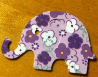 100 light Purple with flowers MODERN ELEPHANT DECOR  Baby Shower Confetti, Birthday party ,scrapbooking, cards 50 cs