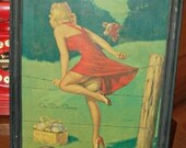 Vintage Framed 1940'S pIN uP gIrl Gil Elvgren-On De Fence World War II Era