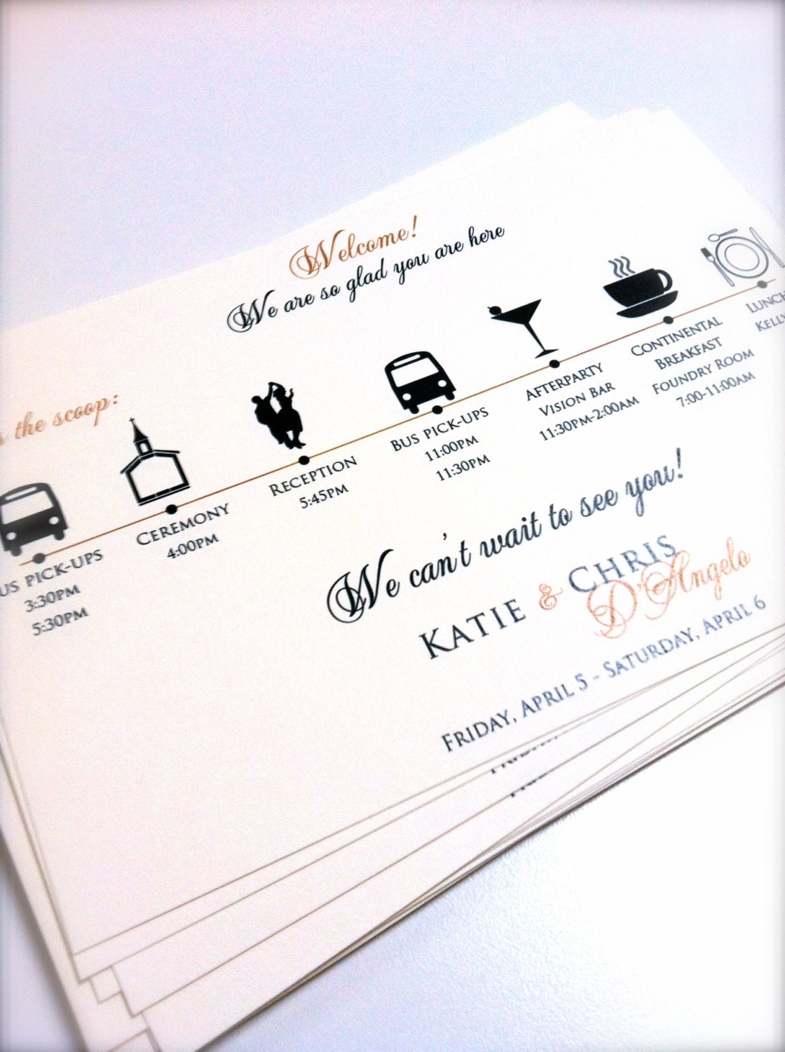Wedding Itinerary Cards Wedding Timeline Weddings Wedding