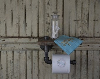 Handmade Barn Board & Pipe Single Roll Toilet Paper Dispenser and Handy Shelf with Custom Options