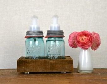 Kitchen Sisters Foaming Soap Dispenser Set with Barn Board Base