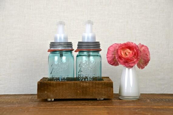 Single Kitchen Foaming Soap Dispenser with Barn Board Base