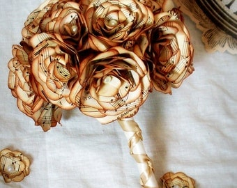 Small bridesmaids bouquet or 'throwing' bouquet made with vintage music paper. Choose your color.