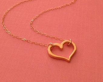 Tiny Heart Necklace in Gold -Gold Heart Necklace -Lovely Gift