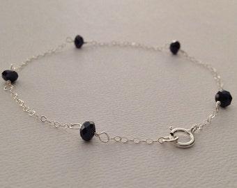 Black Crystal Bracelet in Sterling Silver -Delicate Crystal Bracelet