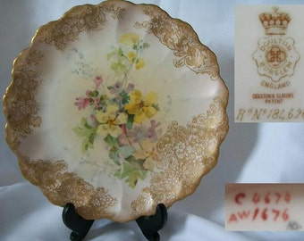1891 Antique DOULTON BURSTEN Collectible Shelf Plate/Free Shipping