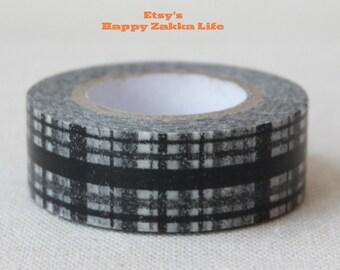 Black Check  - Japanese Washi Masking Tape - 11 yards