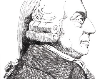 Illustrated Adam Smith Screen Print Portrait T Shirt