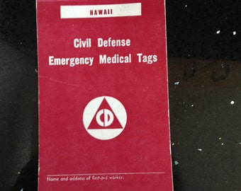 Vintage State of Hawaii Emergency Medical Tags