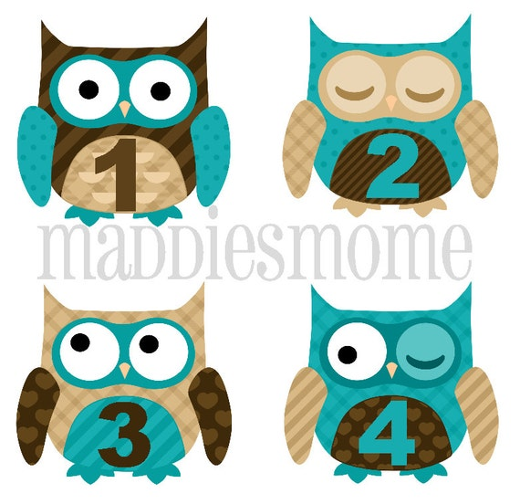 Monthly Baby Boy Stickers, Milestone Stickers, Baby Month Stickers, Monthly Bodysuit Sticker, Monthly Stickers Blue Brown (Big Owls)