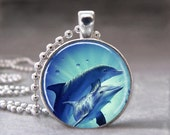 Dolphin Love, Altered Art Glass Dome Photo Pendant Necklace, No. 057-8