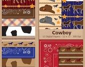Digital Scrapbook Paper Pack - COWBOY - Instant Download