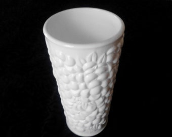 Vintage Milk Glass Vase with Grape Harvest Motif Wedding Decor Centerpiece Vineyard Wedding