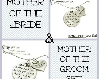 """SALE: Mother and Mother in Law GIFT SET necklaces """"The love between..."""" Wedding Mothers gifts, wedding party gifts"""