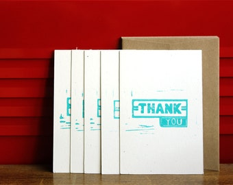 Retro Thank You Notecards, Linoleum Block prints w/envelopes (5-pack)