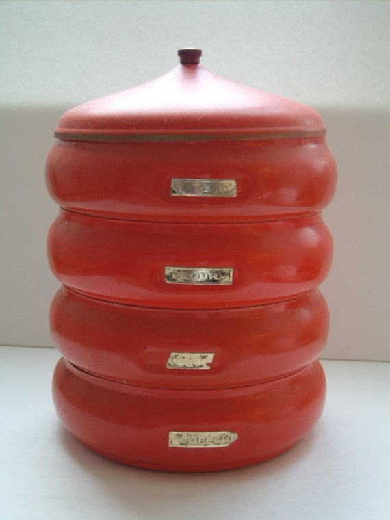 vintage red orange stacking canisters coffee sugar tea flour. Black Bedroom Furniture Sets. Home Design Ideas