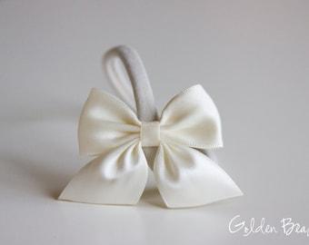 Satin Bow Headband - Flower Girl Headband - Satin Ivory Side Bow Handmade Baby to Adult Headband