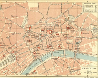 Vintage City Map Frankfurt Germany Street Plan 1920