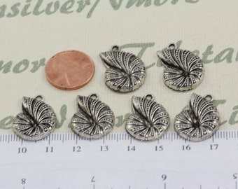 10 pcs per pack 25x18mm Nautilus Charm Antique Silver Finish Lead Free Pewter