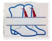 Split Drill Team Boots Applique Machine Embroidery Design - 4 Sizes