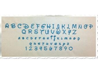"Small Mini Disney Machine Embroidery Font Monogram Alphabet - 1/2"" & 3/4"" Sizes"