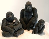 Set Of 3 Gorilla Sculptures, Silverback, Female with baby, & Baby, Ornaments