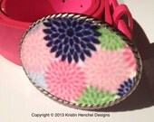 Women's belt buckle - pink, navy, lime green, aqua and white flower print #150