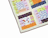 Baby quilt, girl quilt, crib quilt, baby blanket, playmat, patchwork quilt, nursery bedding,bicycles, cars, scooters, pink, green, orange