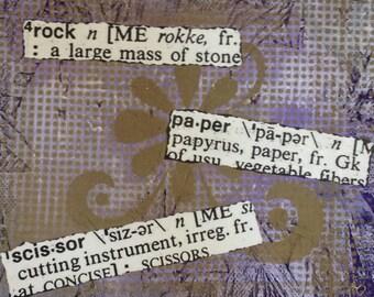 Rock, Paper, Scissors Mixed Media Piece....FUN