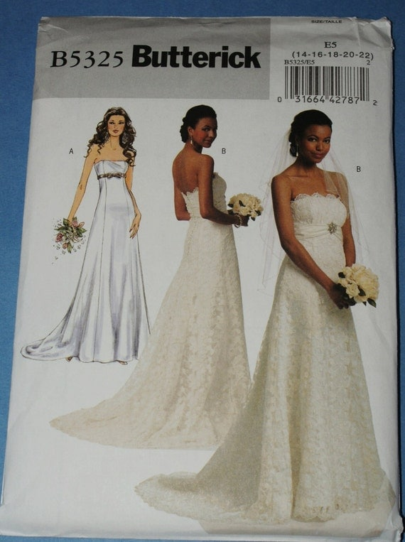 New butterick wedding gown sewing pattern b5325 e5 by for Butterick wedding dress patterns