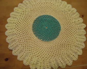 Vintage Doliy Yellow and Green Crocheted Doily
