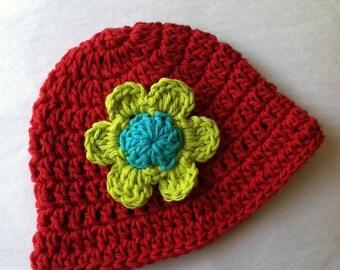 Red Sun Hat, Crochet Baby Hat, Newborn Hat, Baby Hat, Red Hat,  Baby Hat, Baby Girl Hat, Summer Sun Hat