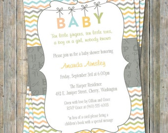 Alphabet BABY shower invite, Gender Neutral digital, printable file