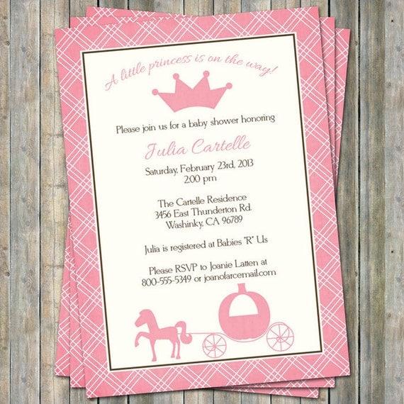 Princess Baby Shower Invitations Digital Printable File