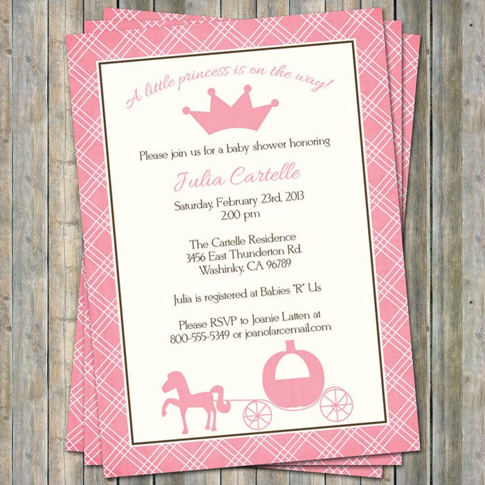 princess baby shower invitations, Digital, Printable file