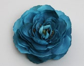Teal Ranunculus Flower Hair Clip and Pin - Dark Teal Blue Green Rose Flower - Clip in Hair or Pin to Jacket or Hat