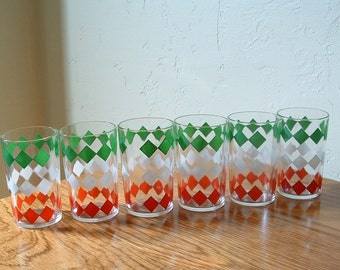 Vintage Mid Century Glasses Set Of 6  Red Green White Diamond Hazel Atlas Retro Geometric Juice Drinking Glasses