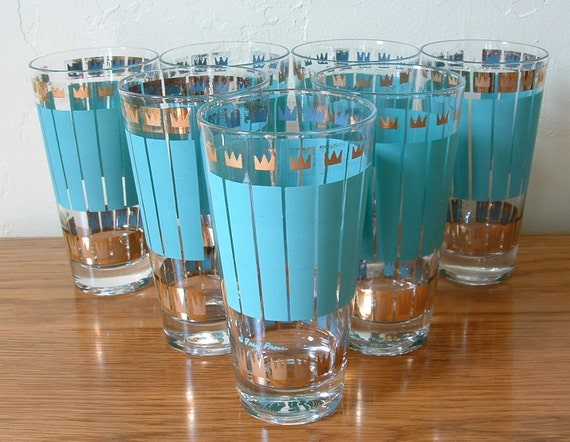 Vintage Fred Press Glasses Blue / Green Gold Mid Century Barware Set of 7