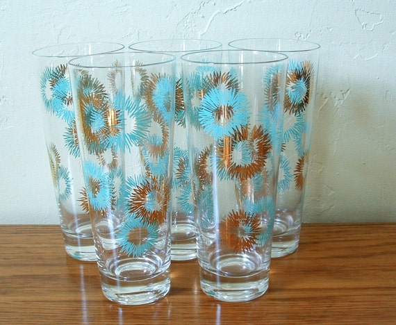 Vintage atomic starburst glasses set of 5 highball glass - Starburst glassware ...