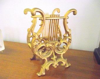 Gold Lyre Harp Music Stand Magazine Rack Sheet Music Holder
