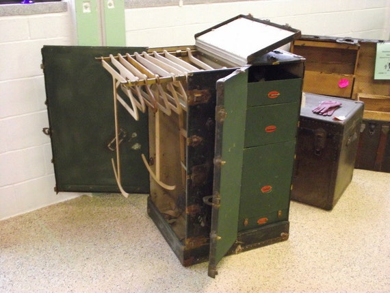 Antique Wardrobe Steamer Trunk all Original with Hangers and Drawers ...