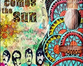 Beatles poster art,retro beatles art, music,beatles music,here comes the sun,sgt peppers,yellow submarine,sixities,retro art,guitar art