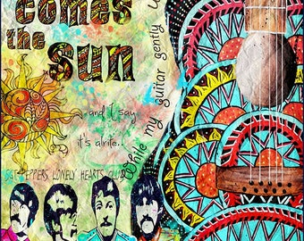 Beatles poster art,retro beatles art, music,beatles music,here comes the sun,sgt peppers,yellow submarine,sixities,retro art,guitar art