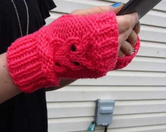 Knit Gloves - Womens Gloves - Owl Gloves - Knit Owl Fingerless Mittens - Bright Pink || VALENTINES OWLET MITTS