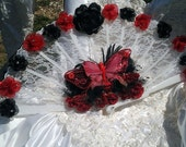 Bridal Fan Bouquet Red and Black Roses alternative bouquet butterfly fan bouquet lace fan wedding bouquet