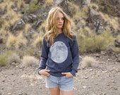 FULL MOON navy heather crew cut SOFT sweatshirt unisex all sizes