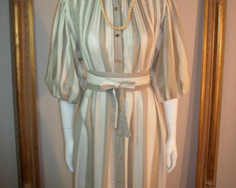 Vintage 1970's Anjac Fashions Cream & Beige Striped Dress - One size fits most