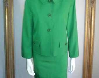 Vintage Branka Klarige Green Silk Sheath Dress & Jacket Set - Size 14
